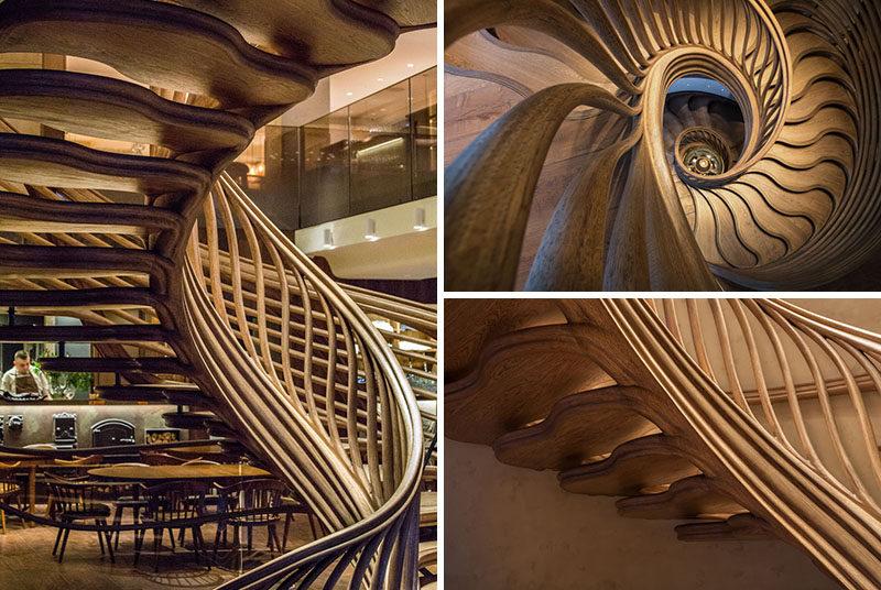 طراحی پله چوبی شگفت انگیز در داخل یک رستوران