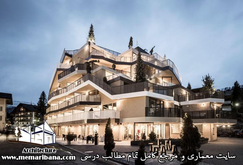 طراحی هتلی مدرن در ایتالیا با الهام از کوه های اطراف محوطه هتل