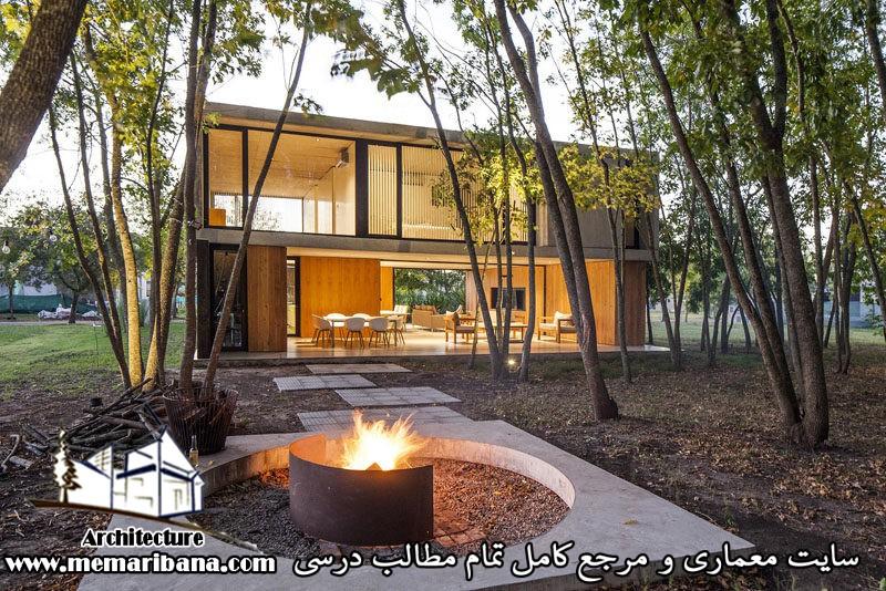 طراحی خانه مدرن با مصالح بتن و چوب در آرژانتین