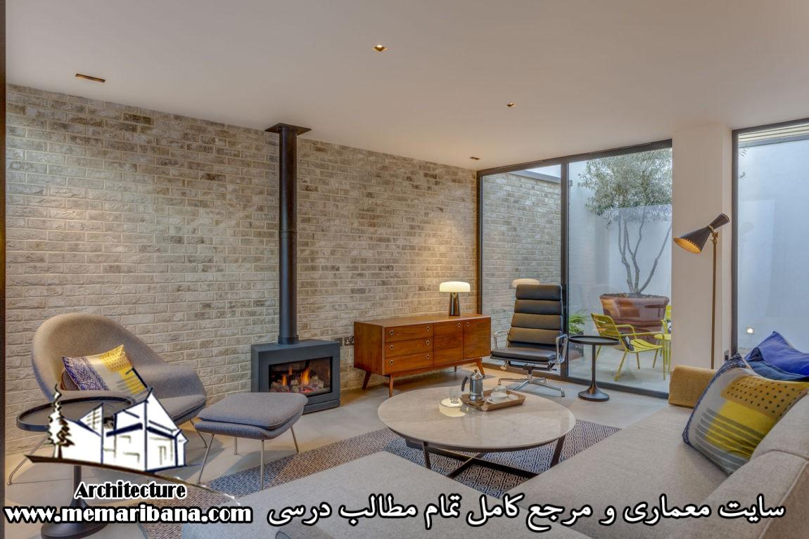 اتاق نشیمن با دیوار سنگی
