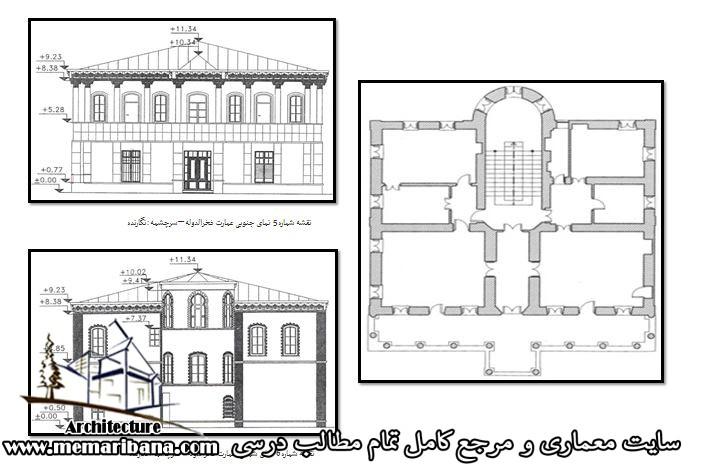 پلان و نمای کوشک و عمارت اشرف الملوک فخرالدوله در تهران