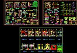 دانلود نقشه ساختمان 4 طبقه مسکونی اسکلت فلزی 200 متری