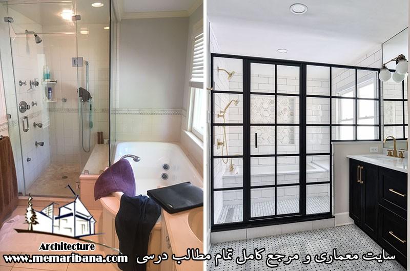 تازه های معماری بازسازی حمام با طرح جدید با اتاق مرطوب سیاه و سفید