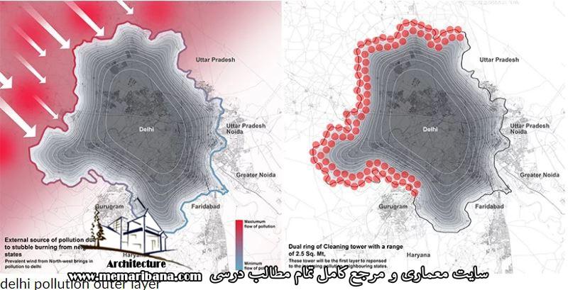 محدوده آلودگی هوای دهلی از روی نقشه