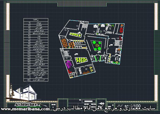 پلان طبقه همکف دانشکده عمران