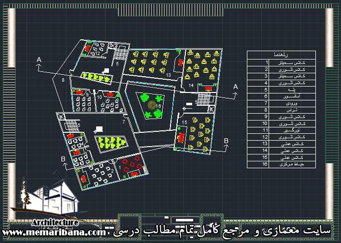 پلان طبقه اول دانشکده عمران