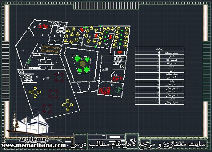 پلان طبقه دوم دانشکده عمران
