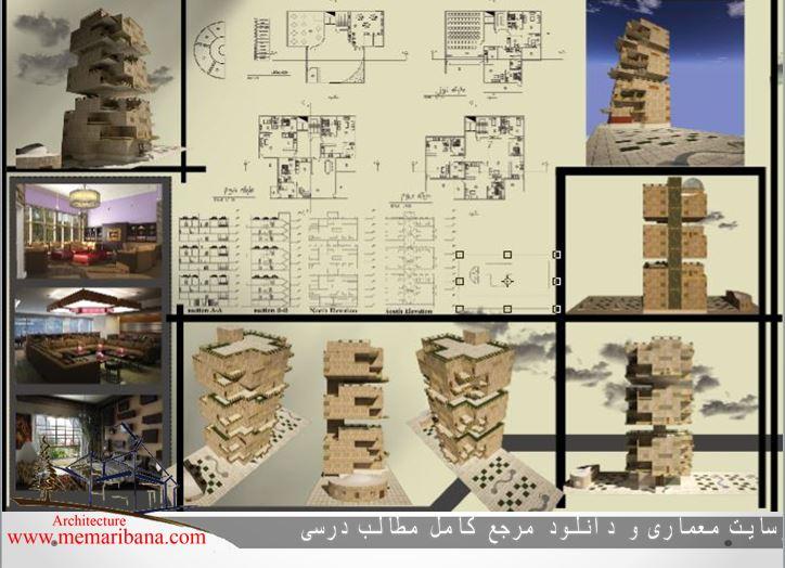 دانلود پروژه برج مسکونی با رویکرد معماری پایدار طرح ۵(اتوکد-رندر-حجم سه بعدی خام -پوستر)